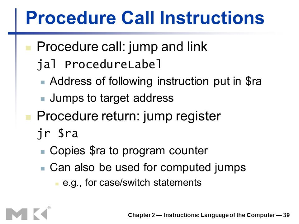 Procedure Call Instructions