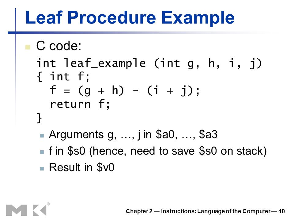Leaf Procedure Example