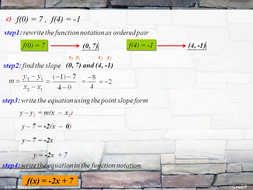f(0) = 7 , f(4) = -1 c) step1: rewrite the function notation as ordered pair. f(0) = 7. f(4) = -1.