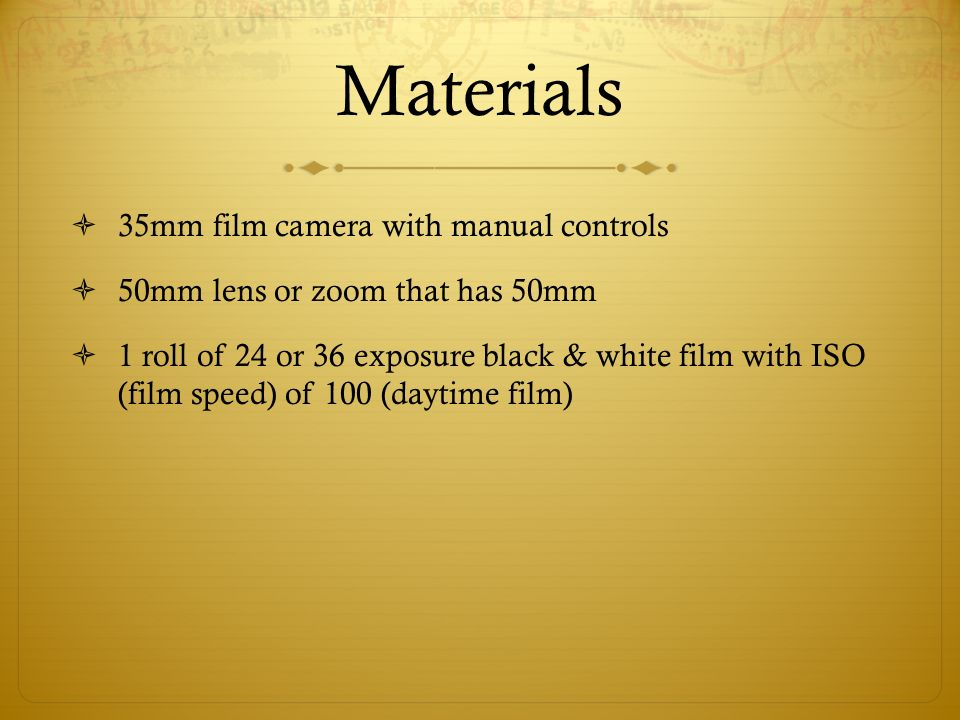 Materials 35mm film camera with manual controls