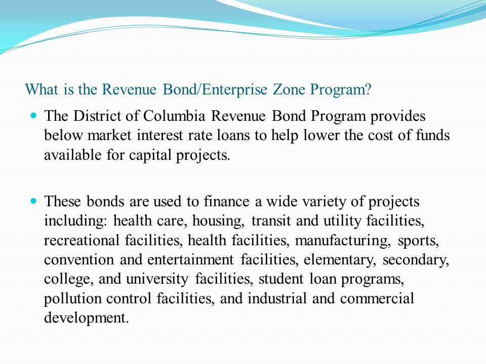 What is the Revenue Bond/Enterprise Zone Program