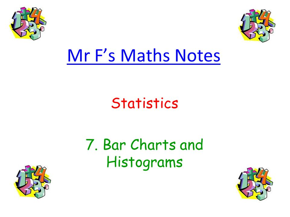 Statistics 7. Bar Charts and Histograms
