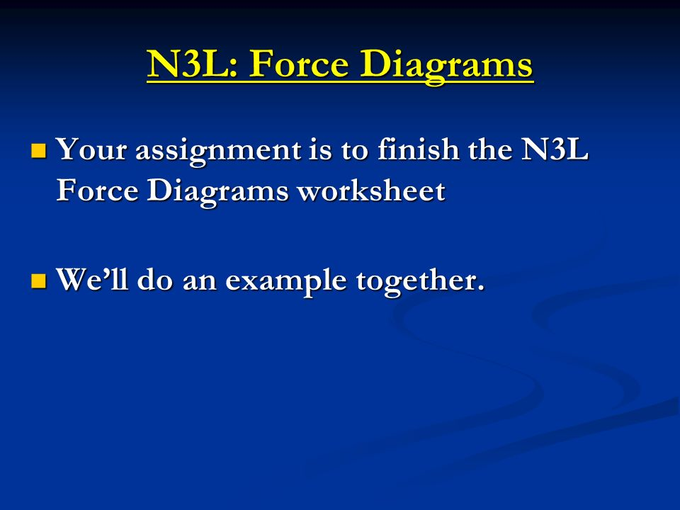 N3L: Force Diagrams Your assignment is to finish the N3L Force Diagrams worksheet.