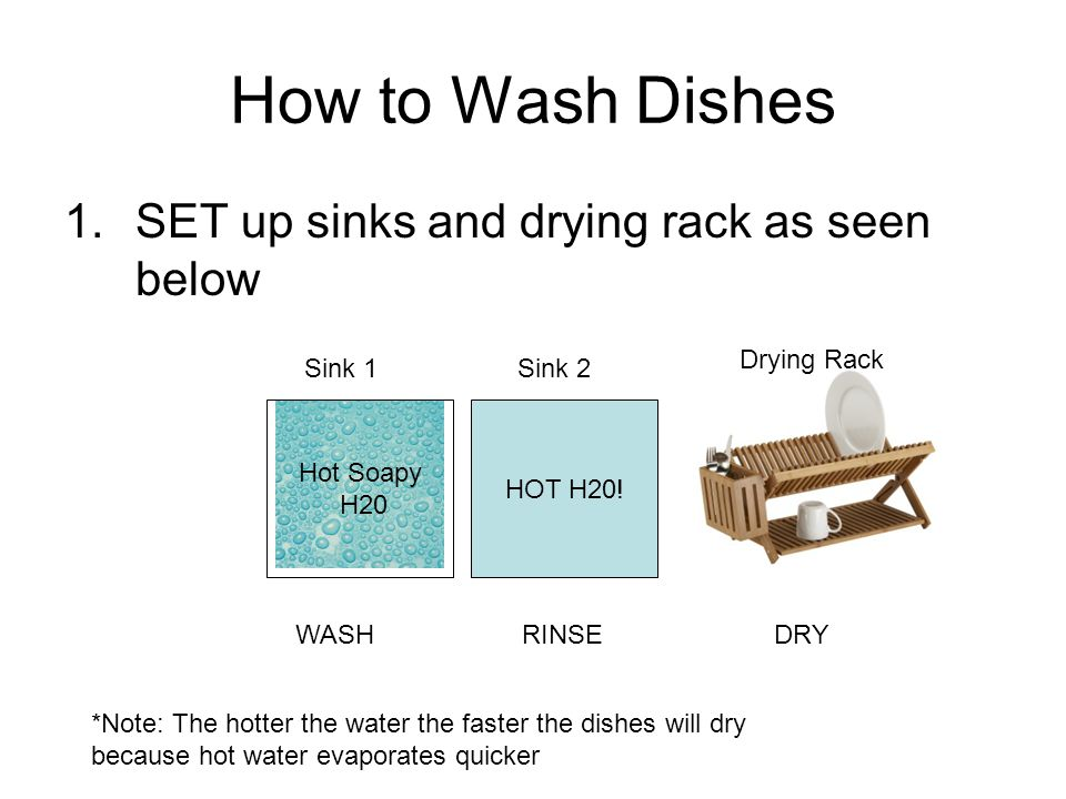 How to Wash Dishes SET up sinks and drying rack as seen below
