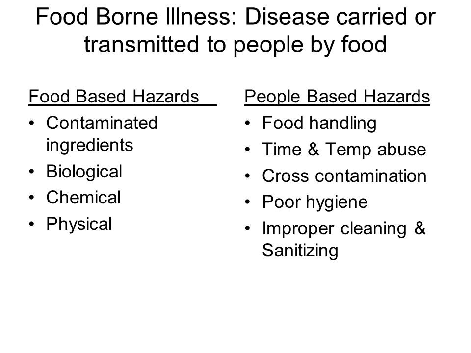 Food Borne Illness: Disease carried or transmitted to people by food