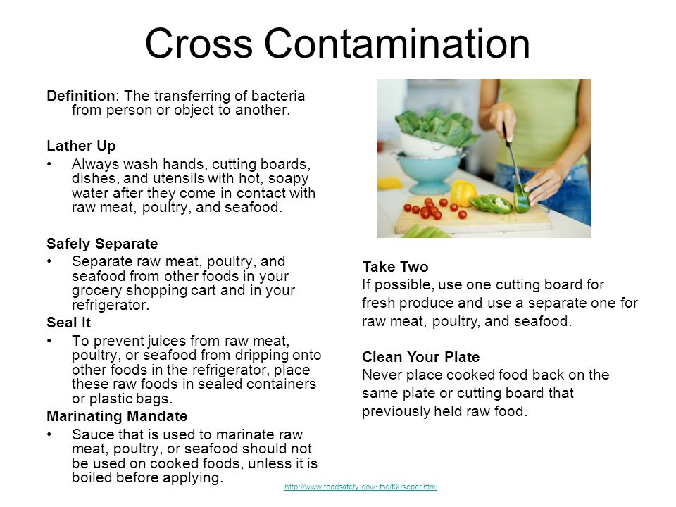 Cross Contamination Definition: The transferring of bacteria from person or object to another. Lather Up.