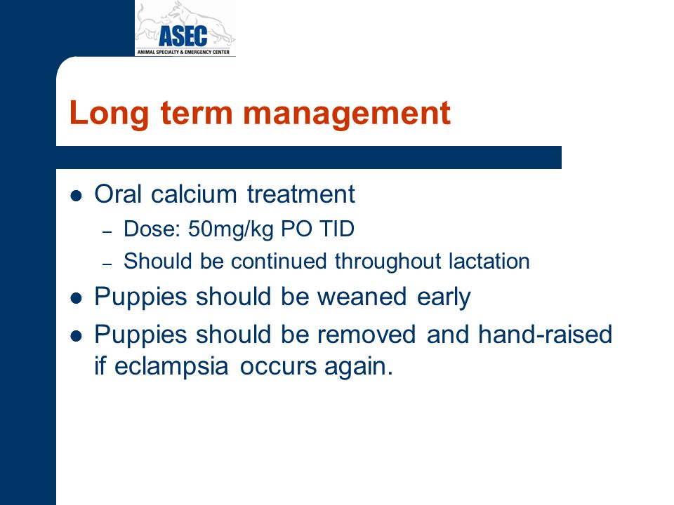 Long term management Oral calcium treatment