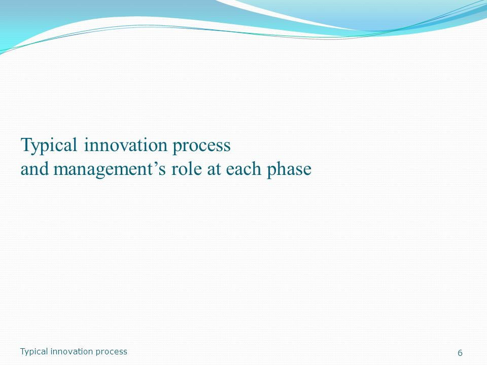 Typical innovation process and management's role at each phase