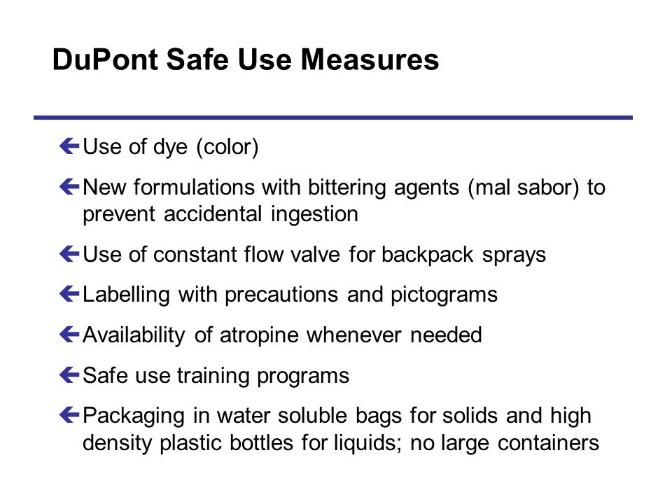 DuPont Safe Use Measures