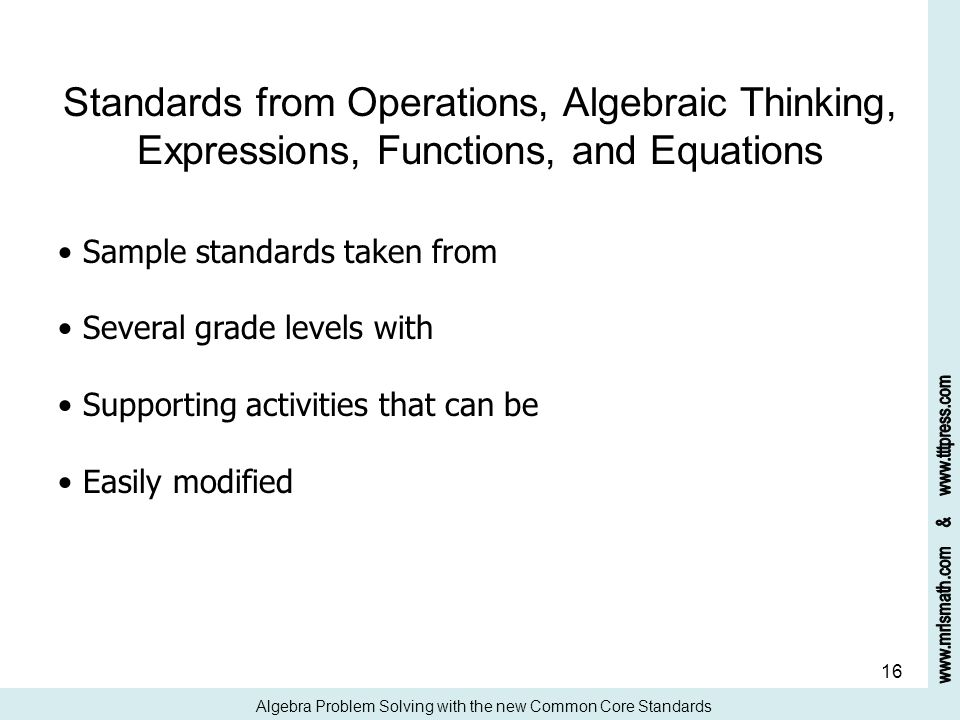 Standards from Operations, Algebraic Thinking, Expressions, Functions, and Equations