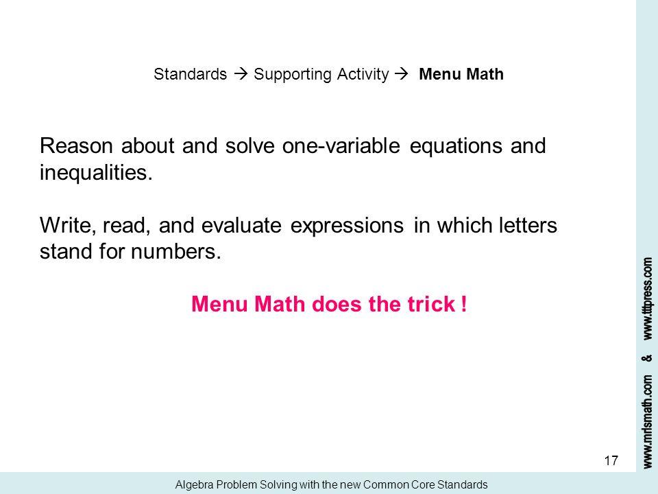 Menu Math does the trick !