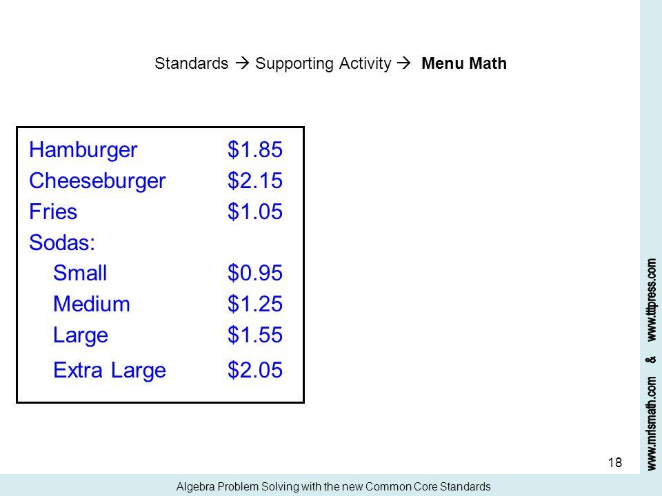 Hamburger $1.85 Cheeseburger $2.15 Fries $1.05 Sodas: Small $0.95