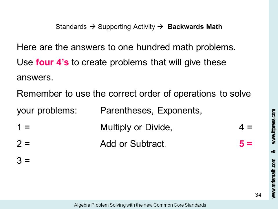 Here are the answers to one hundred math problems.