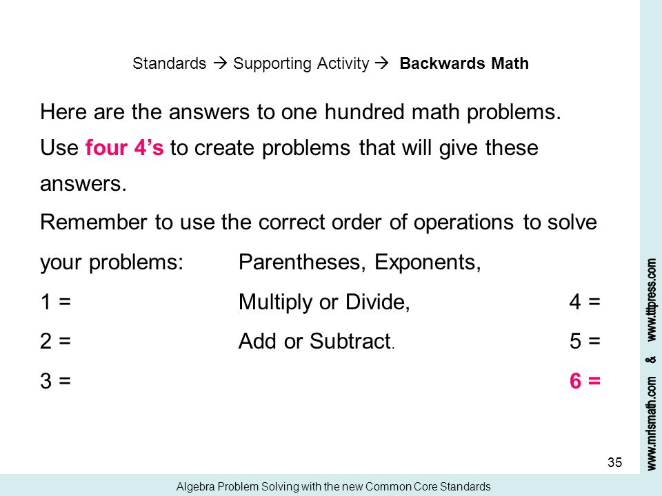 answers for math problems