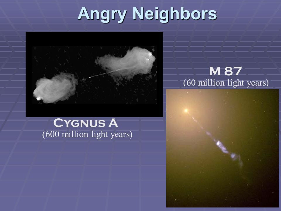 Angry Neighbors M 87 Cygnus A (60 million light years)