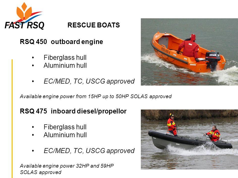 RESCUE BOATS RSQ 450 outboard engine Fiberglass hull Aluminium hull