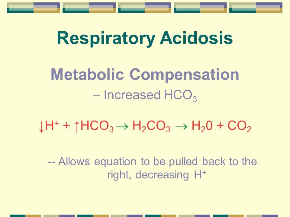 Respiratory Acidosis Metabolic Compensation – Increased HCO3