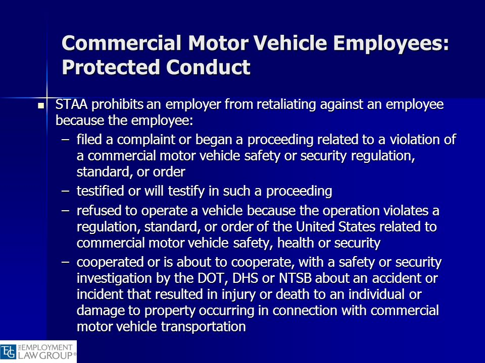 Commercial Motor Vehicle Employees: Protected Conduct