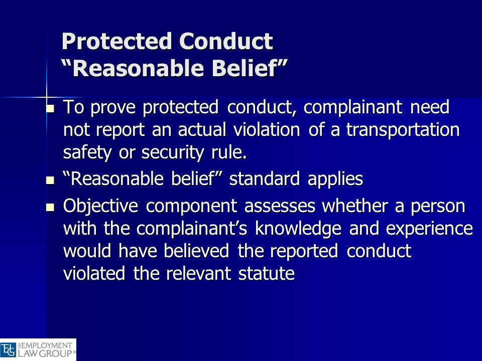 Protected Conduct Reasonable Belief