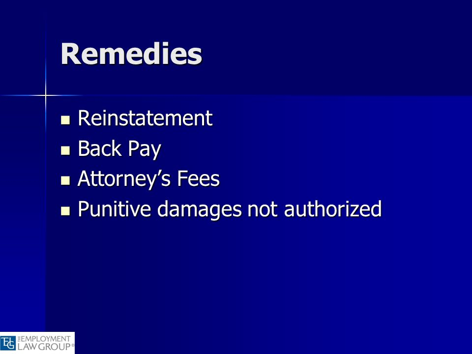 Remedies Reinstatement Back Pay Attorney's Fees