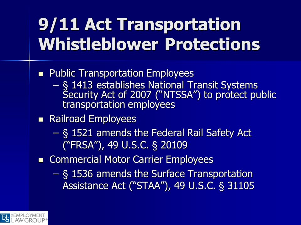 9/11 Act Transportation Whistleblower Protections