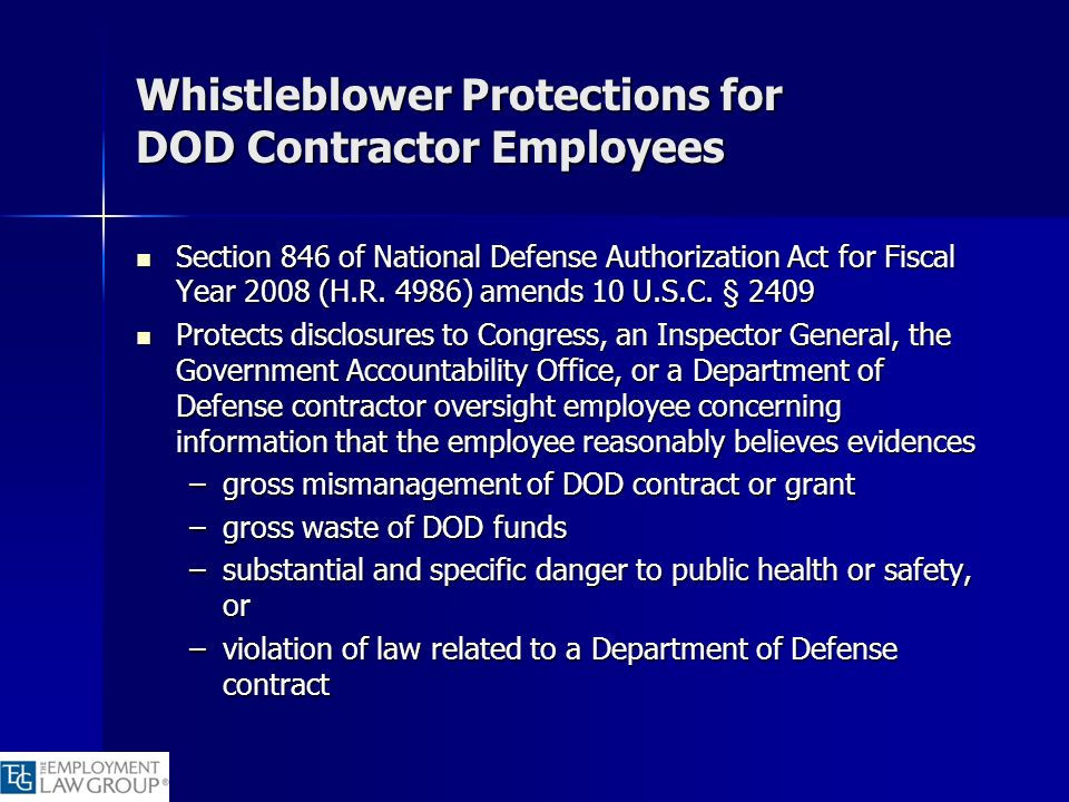 Whistleblower Protections for DOD Contractor Employees
