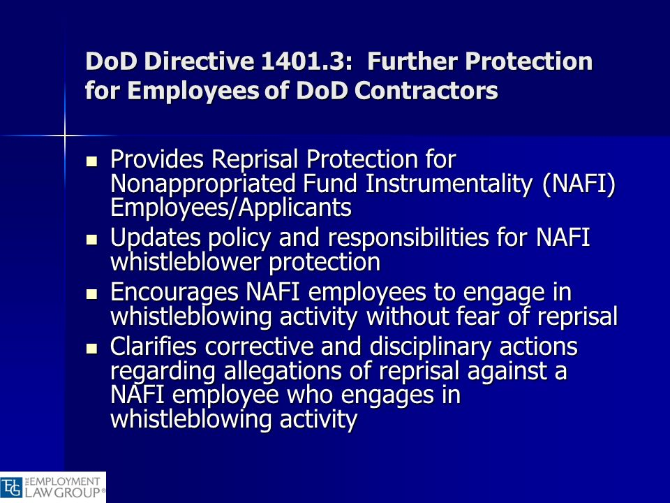 Updates policy and responsibilities for NAFI whistleblower protection