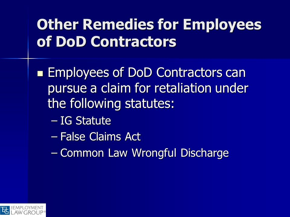 Other Remedies for Employees of DoD Contractors