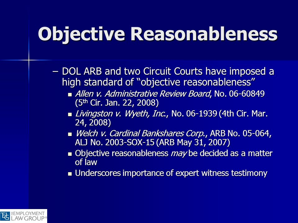 Objective Reasonableness