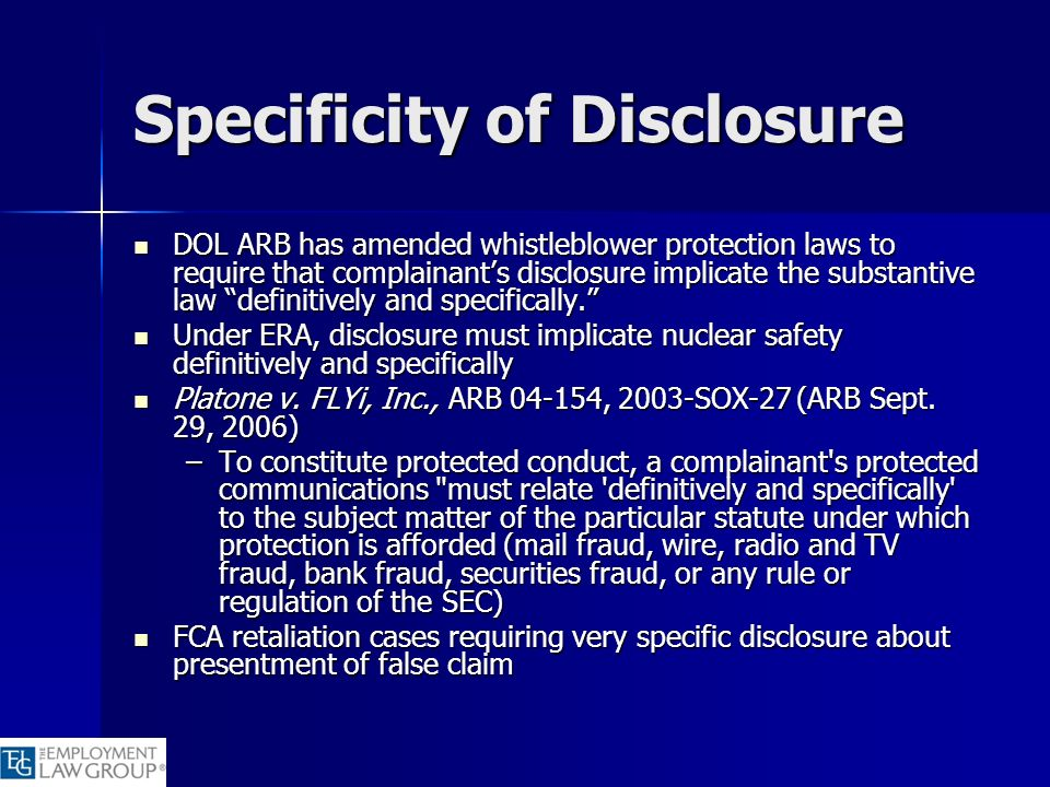 Specificity of Disclosure
