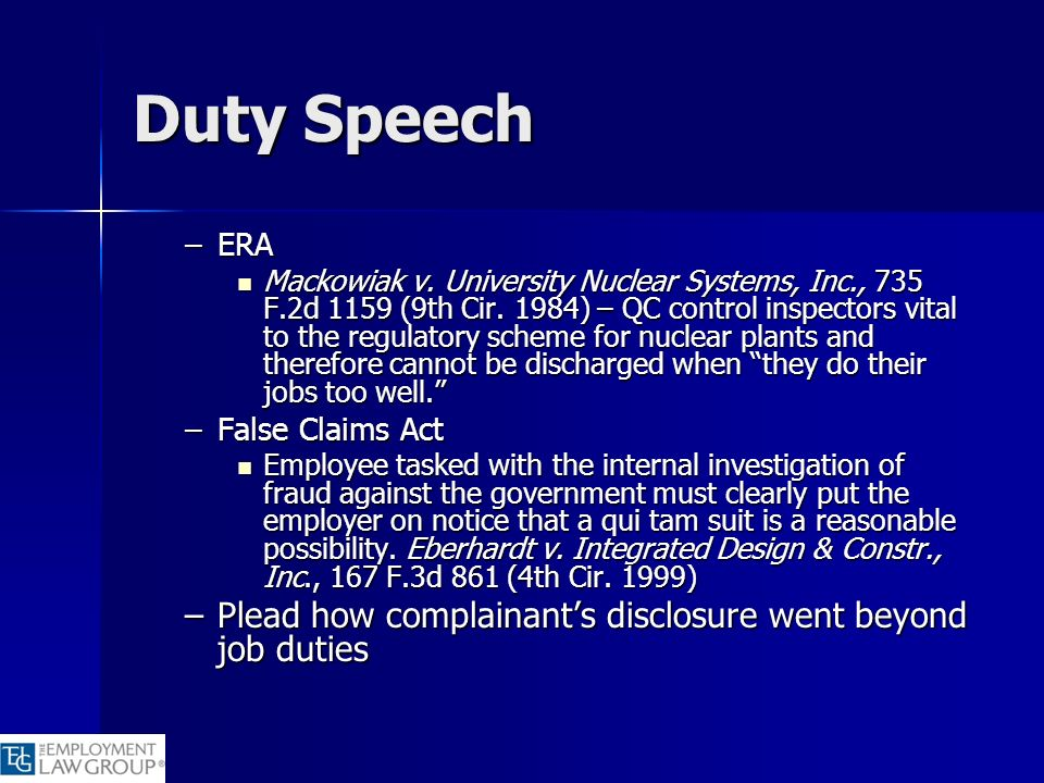 Duty Speech Plead how complainant's disclosure went beyond job duties