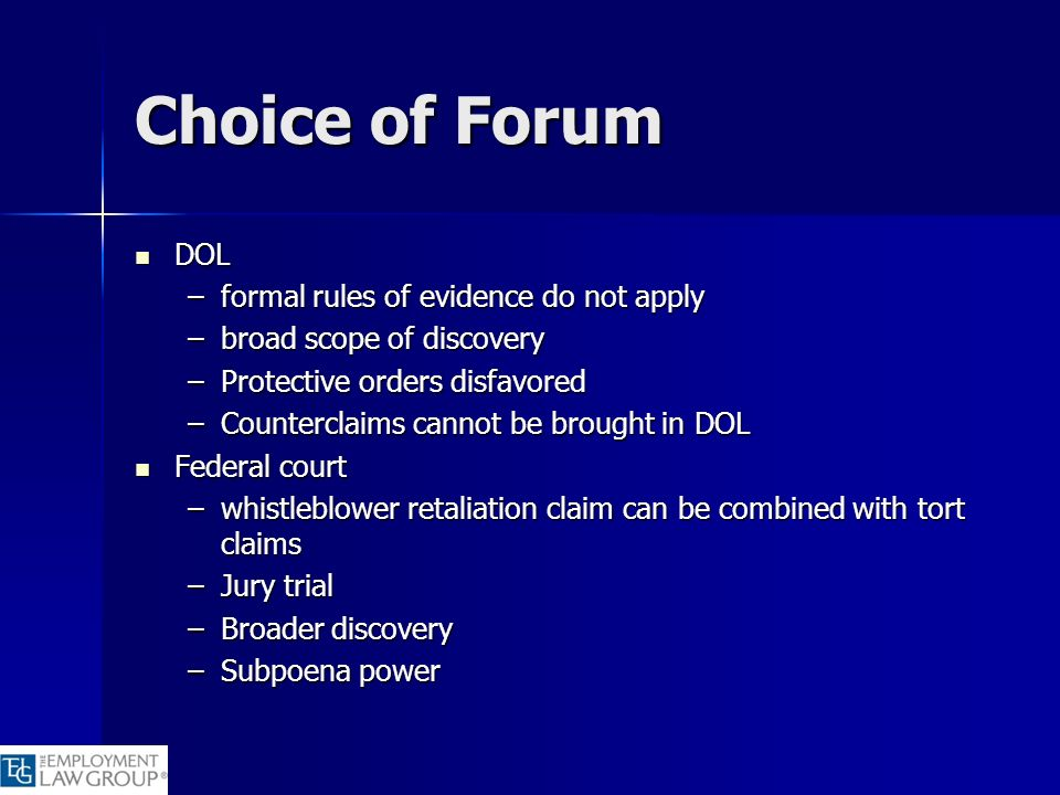 Choice of Forum DOL formal rules of evidence do not apply