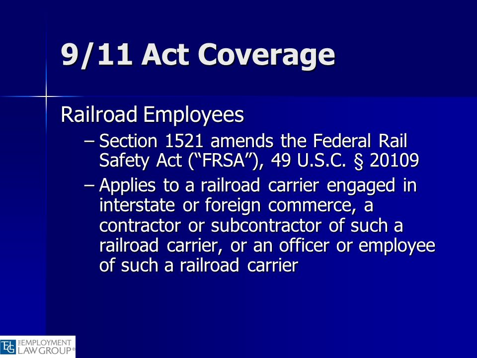 9/11 Act Coverage Railroad Employees