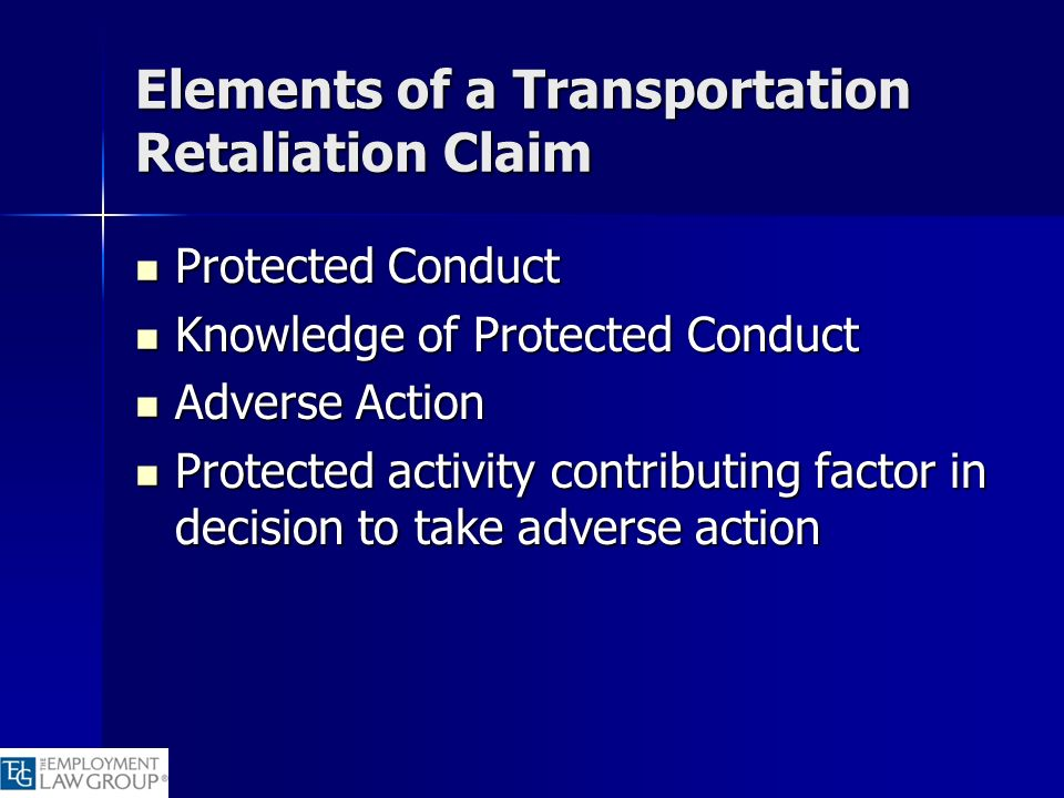 Elements of a Transportation Retaliation Claim