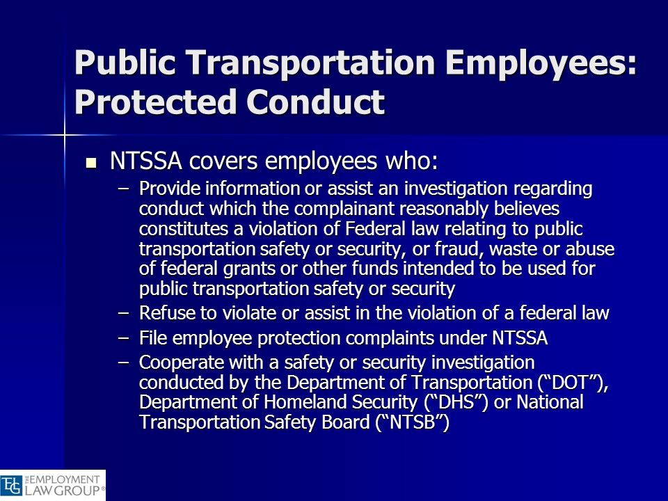 Public Transportation Employees: Protected Conduct