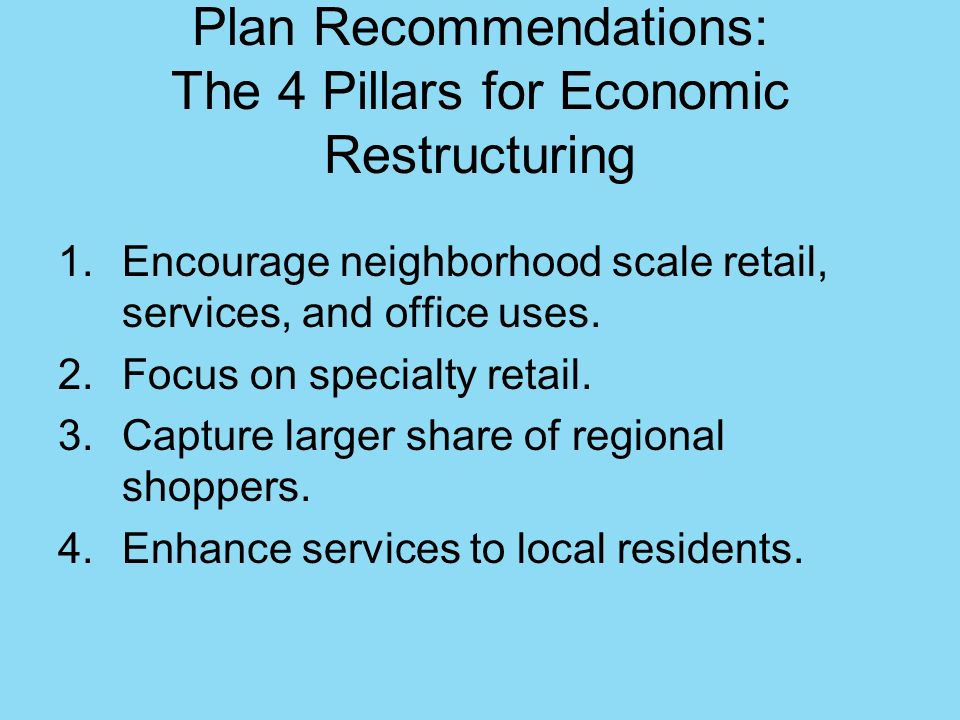 Plan Recommendations: The 4 Pillars for Economic Restructuring
