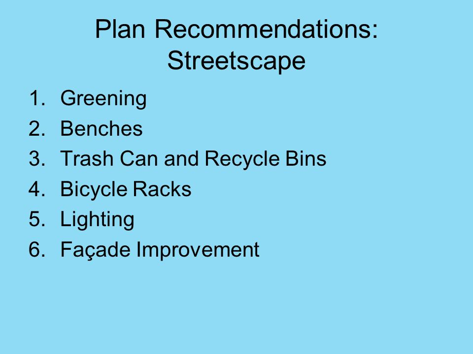 Plan Recommendations: Streetscape