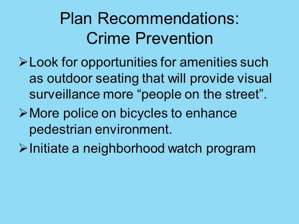 Plan Recommendations: Crime Prevention