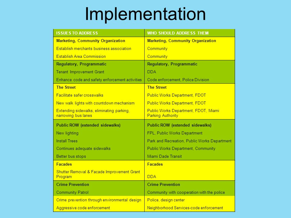 Implementation ISSUES TO ADDRESS WHO SHOULD ADDRESS THEM