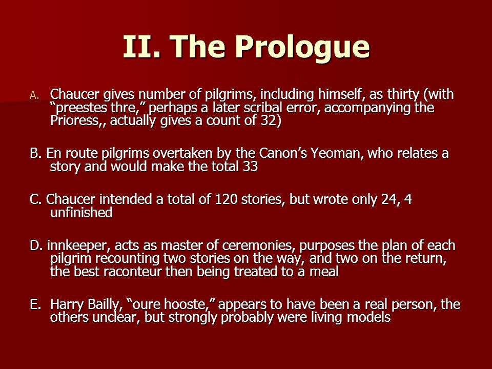 II. The Prologue