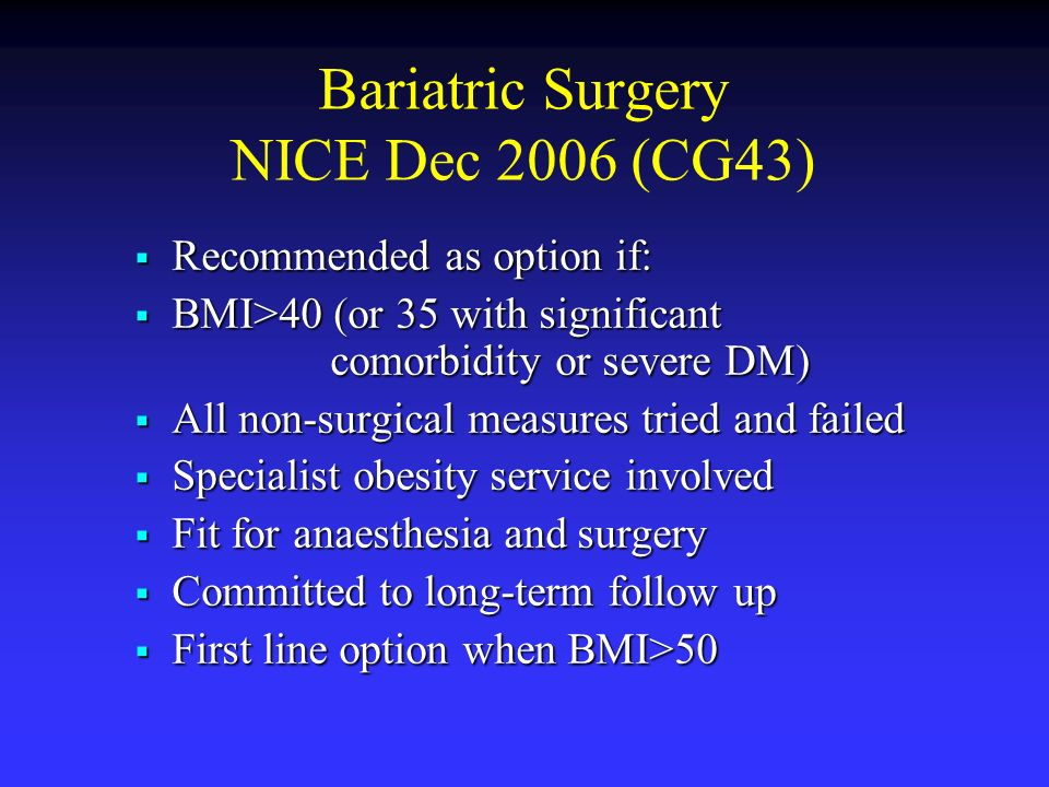 Bariatric Surgery NICE Dec 2006 (CG43)