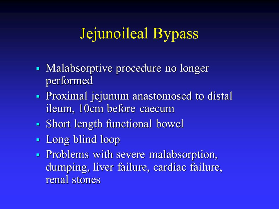 Jejunoileal Bypass Malabsorptive procedure no longer performed