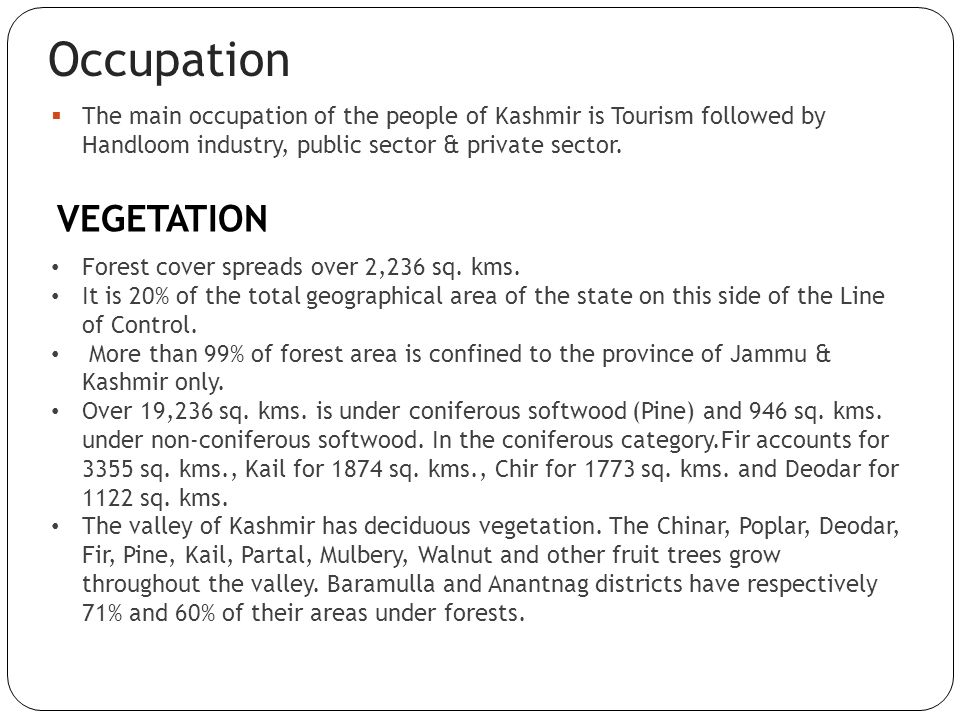 Occupation VEGETATION