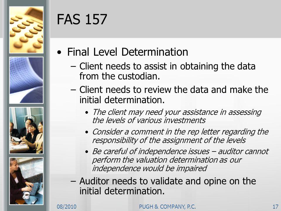 FAS 157 Final Level Determination