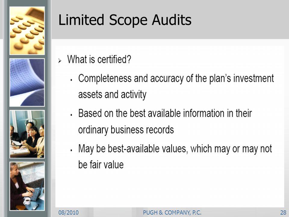 Limited Scope Audits 08/2010 PUGH & COMPANY, P.C.