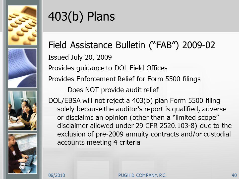 403(b) Plans Field Assistance Bulletin ( FAB ) 2009-02