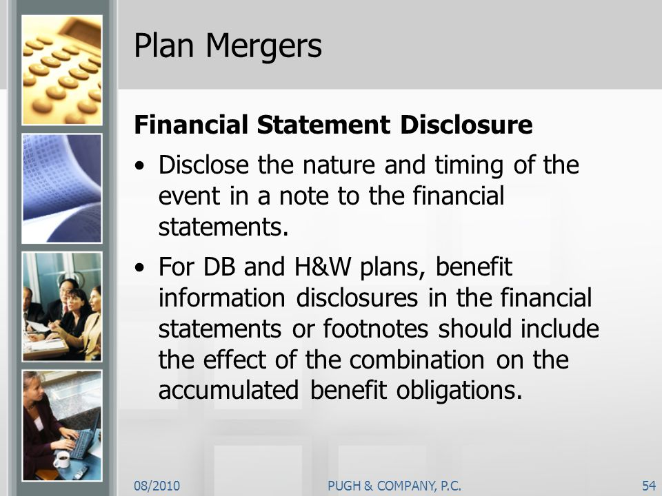 Plan Mergers Financial Statement Disclosure