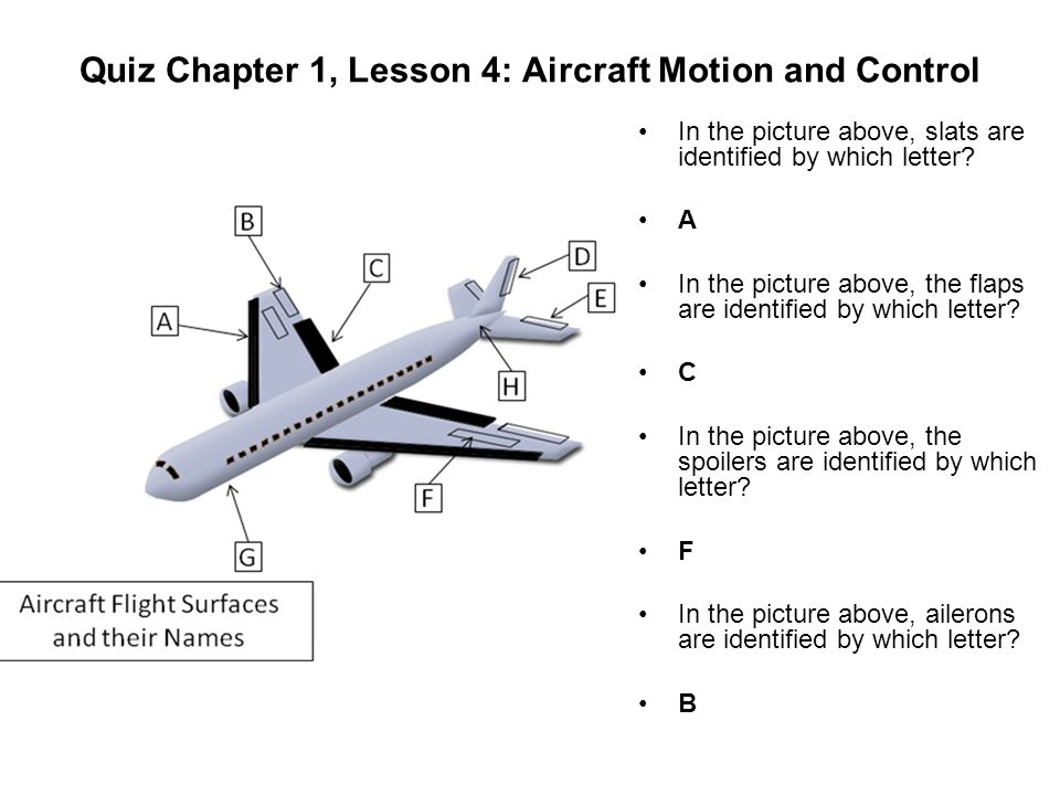 Quiz Chapter 1, Lesson 4: Aircraft Motion and Control