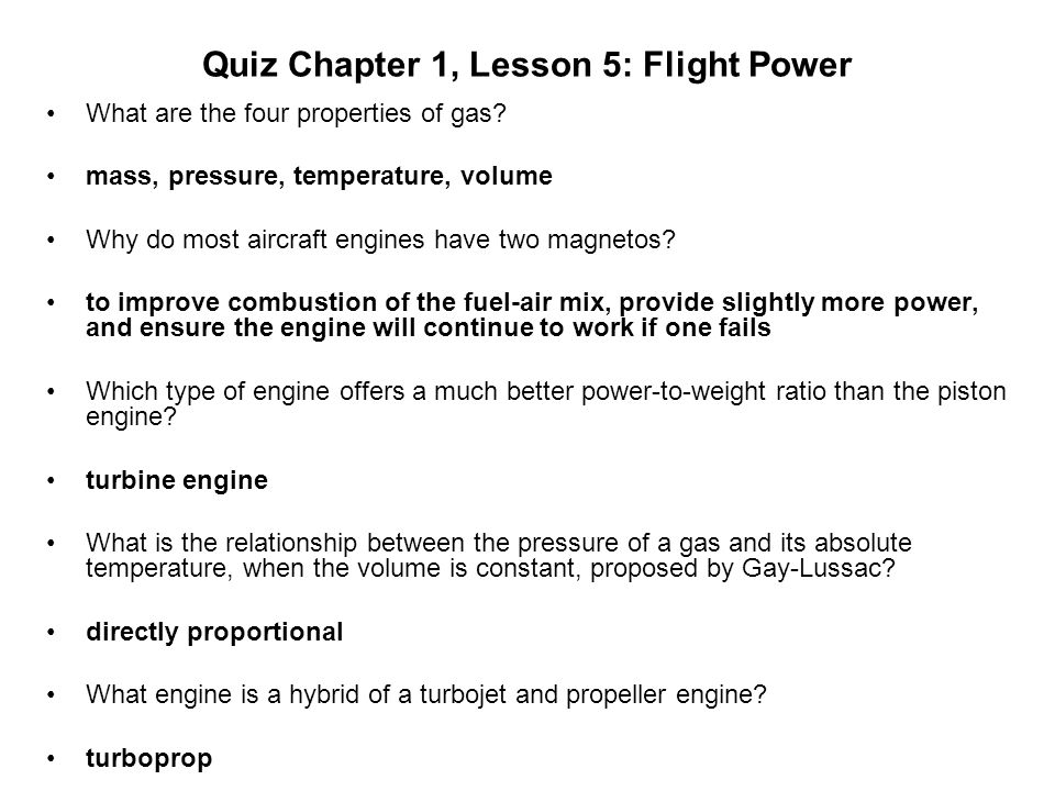 Quiz Chapter 1, Lesson 5: Flight Power