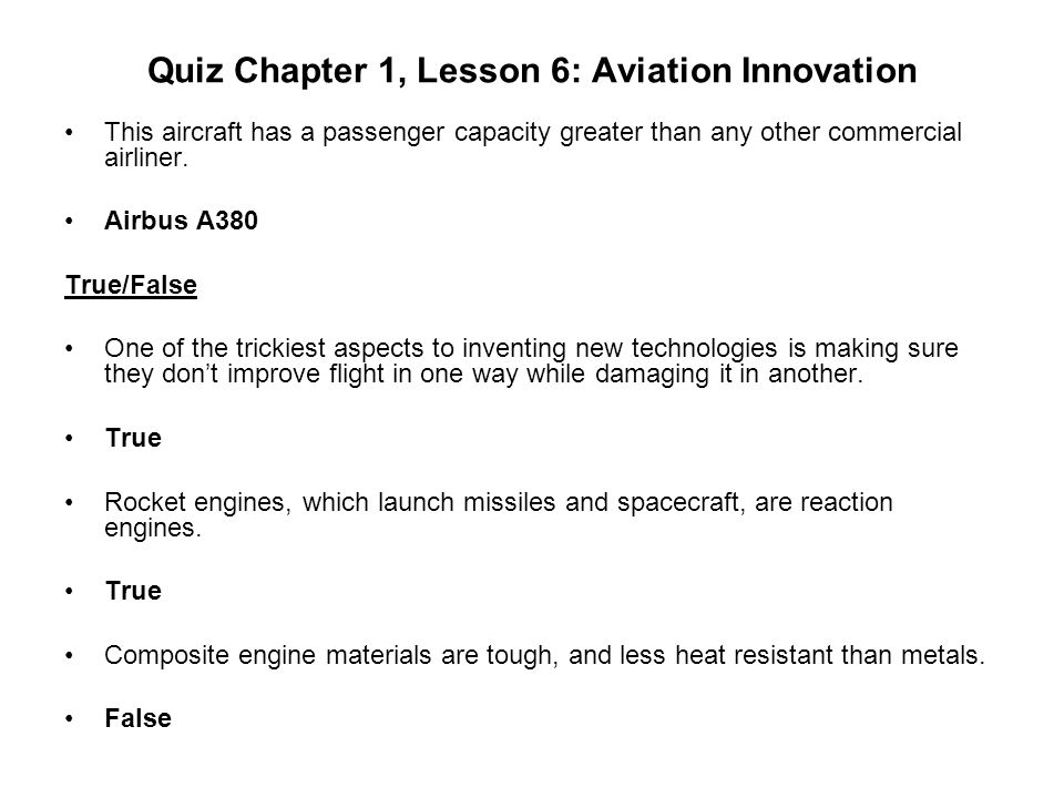 Quiz Chapter 1, Lesson 6: Aviation Innovation